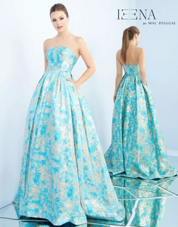 Queenly size 6 Mac Duggal Blue Ball gown evening gown/formal dress