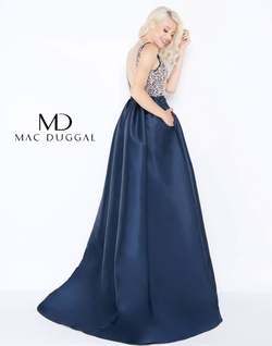 Style 62927 Mac Duggal Blue Size 4 Train A-line Dress on Queenly