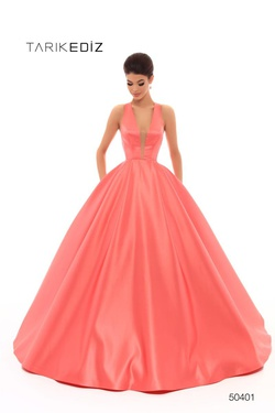 Queenly size 2 Tarik Ediz Orange Ball gown evening gown/formal dress