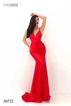 Queenly size 8 Tarik Ediz Red Mermaid evening gown/formal dress