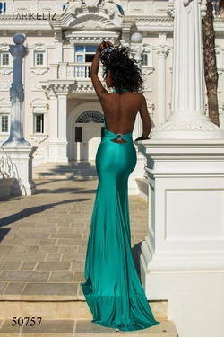 Style 50757 Tarik Ediz Green Size 0 Backless Prom Side slit Dress on Queenly