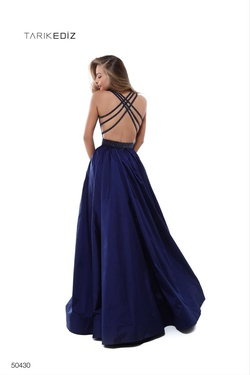 Style 50430 Tarik Ediz Blue Size 4 Pageant Prom Mermaid Dress on Queenly