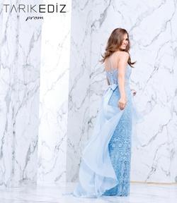 Style 50103 Tarik Ediz Blue Size 6 Overskirt Mermaid Dress on Queenly