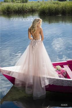 Style 50405 Tarik Ediz White Size 6 Tall Height Mermaid Dress on Queenly