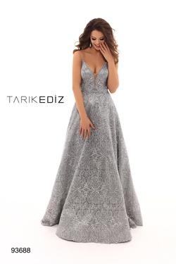 Style 93688 Tarik Ediz Silver Size 10 Tall Height A-line Dress on Queenly