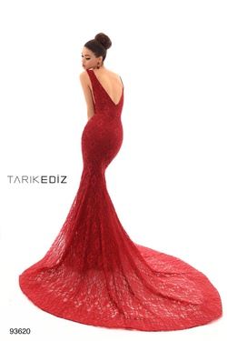 Style 93620 Tarik Ediz Red Size 6 Backless Tall Height Lace Mermaid Dress on Queenly
