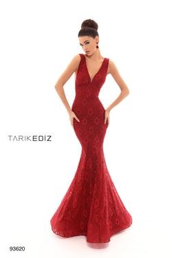 Queenly size 6 Tarik Ediz Red Mermaid evening gown/formal dress