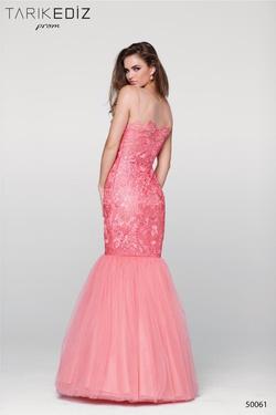 Style 50061 Tarik Ediz Pink Size 6 Coral Mermaid Dress on Queenly