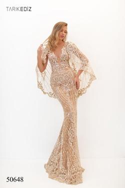 Style 50648 Tarik Ediz Gold Size 8 Sheer Long Sleeve Pageant Mermaid Dress on Queenly