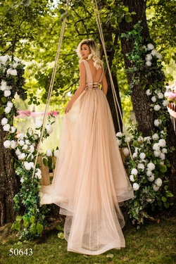 Style 50643 Tarik Ediz Gold Size 6 Tall Height Mermaid Dress on Queenly