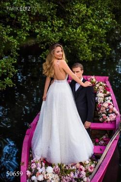 Style 50659 Tarik Ediz White Size 4 Prom Side slit Dress on Queenly