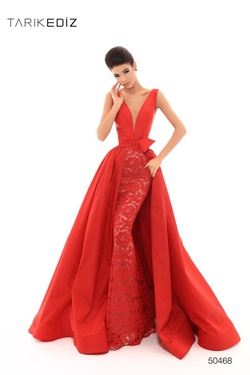 Style 50468 Tarik Ediz Red Size 4 Pageant Prom Mermaid Dress on Queenly