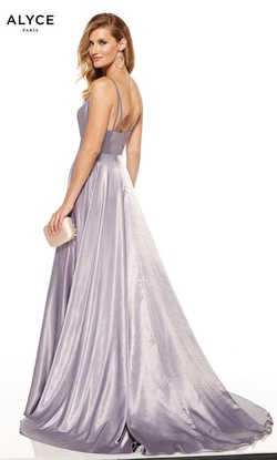 Style 60624 Alyce Paris Purple Size 0 Tall Height Side slit Dress on Queenly