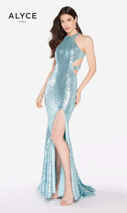 Queenly size 6 Alyce Paris Blue Side slit evening gown/formal dress