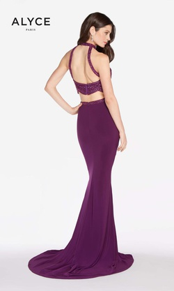 Style 60014 Alyce Paris Purple Size 6 Halter Tall Height Mermaid Dress on Queenly