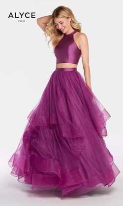 Style 60210 Alyce Paris Purple Size 4 Prom Two Piece Ball gown on Queenly
