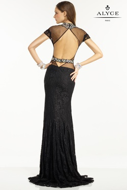 Style 6553 Alyce Paris Black Size 12 Sheer Prom Sequin Mermaid Dress on Queenly