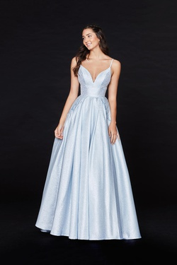Style 20094 Angela & Alison Light Blue Size 12 Prom A-line Dress on Queenly