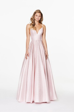 Style 20094 Angela & Alison Light Pink Size 14 Plus Size Prom A-line Dress on Queenly