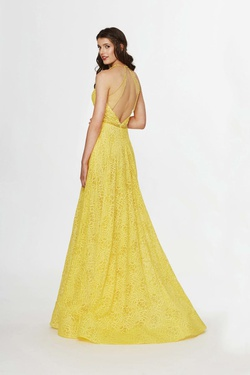 Style 91023 Angela & Alison Yellow Size 6 Tall Height A-line Dress on Queenly