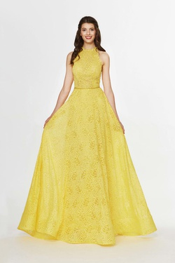 Queenly size 6 Angela & Alison Yellow A-line evening gown/formal dress