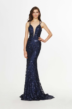 Style 91031 Angela & Alison Blue Size 4 Tall Height Lace A-line Dress on Queenly