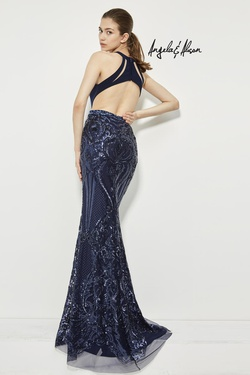 Style 81020 Angela & Alison Blue Size 4 Halter Tall Height Mermaid Dress on Queenly