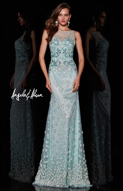 Style 51079 Angela & Alison Green Size 4 Tall Height Straight Dress on Queenly