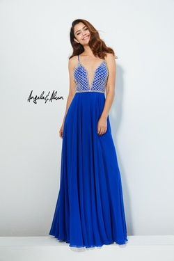 Style 81053 Angela & Alison Royal Blue Size 16 Plunge Prom Plus Size Straight Dress on Queenly