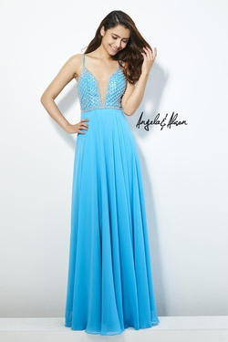 Style 81053 Angela & Alison Blue Size 8 Tall Height Straight Dress on Queenly