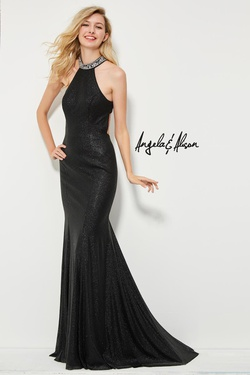 Style 81058 Angela & Alison Black Size 4 Halter Tall Height Mermaid Dress on Queenly