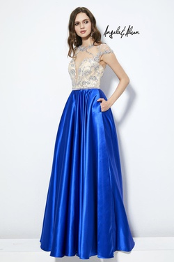 Style 81083 Angela & Alison Blue Size 6 Tall Height A-line Dress on Queenly