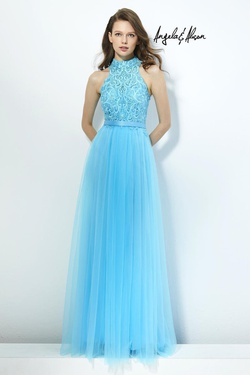 Style 81097 Angela & Alison Blue Size 0 Halter Tall Height A-line Dress on Queenly