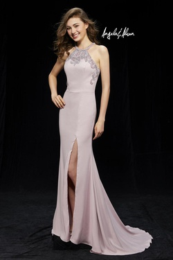 Style 81125 Angela & Alison Pink Size 4 Halter Tall Height Side slit Dress on Queenly