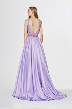 Style 91001 Angela & Alison Purple Size 2 Tall Height A-line Dress on Queenly