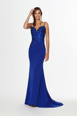 Style 91067 Angela & Alison Blue Size 6 Tall Height Mermaid Dress on Queenly