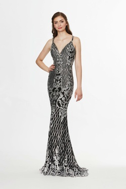 Style 91038 Angela & Alison Black Size 4 Prom Tall Height Mermaid Dress on Queenly