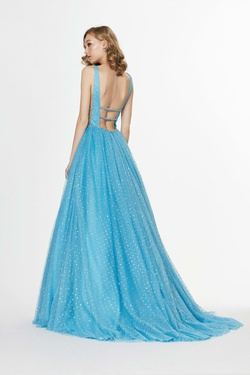 Style 91043 Angela & Alison Blue Size 2 Backless Tall Height A-line Dress on Queenly
