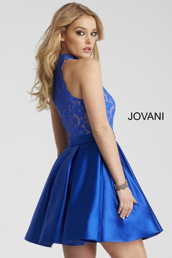 Style 55300 Jovani Blue Size 00 Interview Cocktail Dress on Queenly