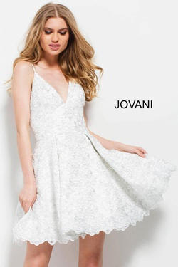 Style 51788 Jovani White Size 8 Interview Lace Cocktail Dress on Queenly