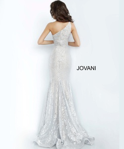 Style 00353 Jovani Silver Size 12 Plus Size Prom One Shoulder Mermaid Dress on Queenly