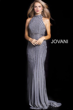 Queenly size 20 Jovani Silver Straight evening gown/formal dress