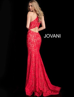Style 63214 Jovani Red Size 12 Plus Size Prom Straight Dress on Queenly