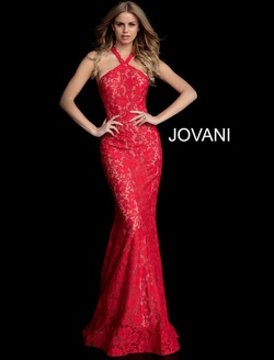 Queenly size 12 Jovani Red Straight evening gown/formal dress