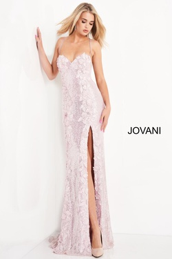 Queenly size 2 Jovani Pink Side slit evening gown/formal dress