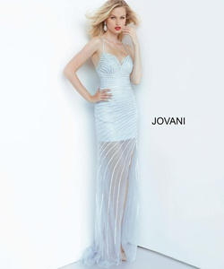 Style 03187 Jovani Blue Size 0 Sheer Tall Height Side slit Dress on Queenly