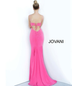 Style 00625 Jovani Pink Size 0 Plunge Prom Straight Dress on Queenly