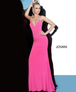 Style 00625 Jovani Pink Size 2 Plunge Prom Straight Dress on Queenly