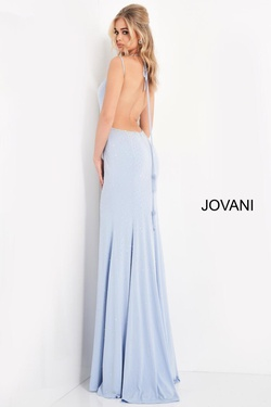 Style 06209 Jovani Blue Size 2 Backless Tall Height Side slit Dress on Queenly