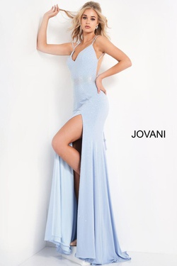 Queenly size 0 Jovani Blue Side slit evening gown/formal dress